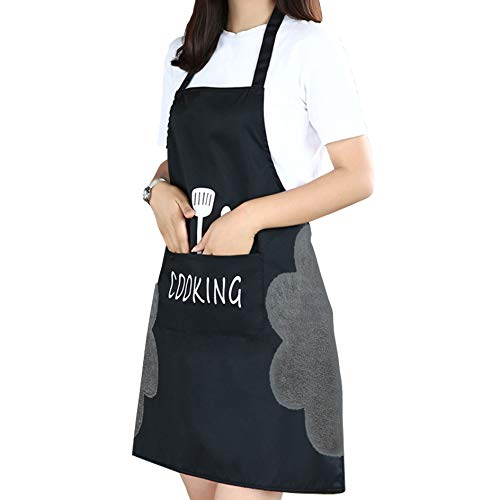 PASSDIGY Chef Kitchen Cooking BBQ Grill Apron for Women Men with Pockets, Waterproof Plus Size Apron, Cute Personalized Works Baking Artist Server Apron (Black)