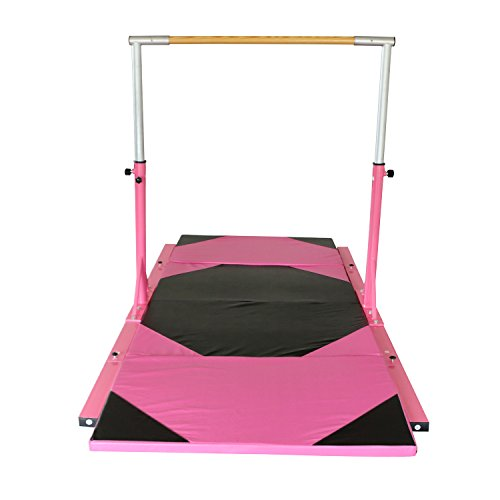 Bestmart INC Pink Adjustable (3'-5') Horizontal Bar with 10ft Folding...