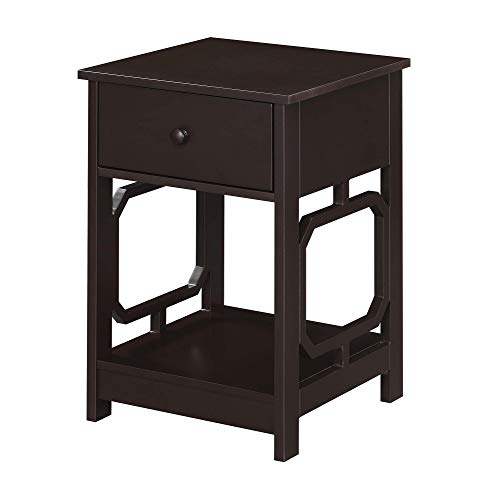 Convenience Concepts Omega 1-Drawer End Table with Shelf, Espresso