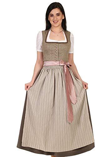 Countryline Damen Dirndl lang mit Stehkragen festlich 41230 Rocklänge 90 cm Hellbraun Gr. 38