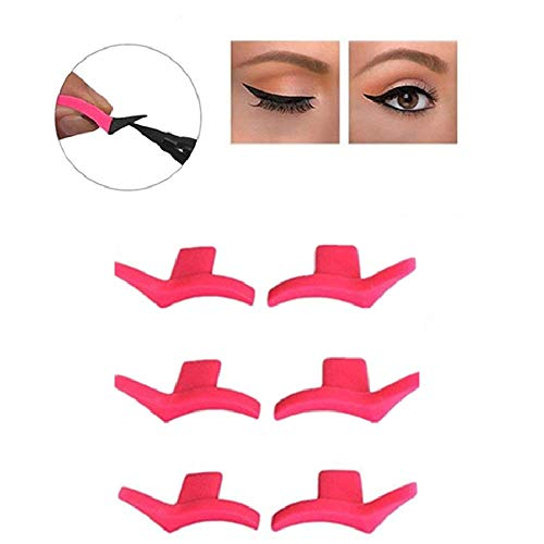 Silicone Winged Eyeliner Stamp, Eyeliner Template Makeup Tools, Silicone Winged Eyeliner Makeup Stencil Beauty Cosmetic Tool for Girl Women, 6 piezas (Moda)