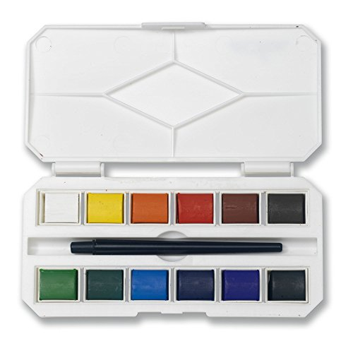 Jerry Q Art 12 Assorted Water Colors Travel Pocket Set- Quality Paint Brush-Easy to Blend Colors-Half Pan Watercolors- Perfect for Painting on The Go JQ-112