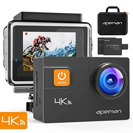 APEMAN Caméra Sport 4K 20MP Ultra HD Wi-FI Caméra d'action Étanche 40M 170°Grand-Angle 2 Pouces...