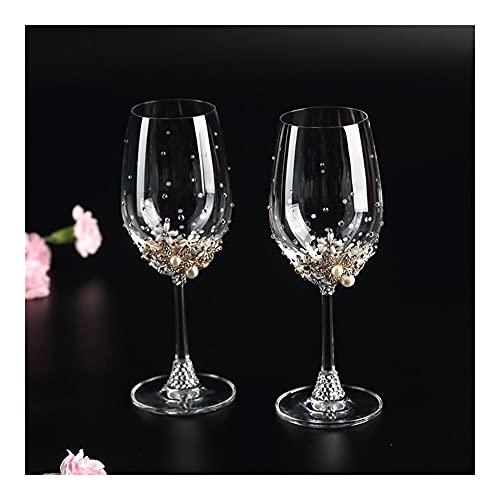 DEF Juego de 2 cubiletes de Diamantes de imitación, Copa de champán de Cristal de Copa de Vino Tinto con Caja de Regalo, Regalo de Boda para el día de San Valentín (Style : Red Wine Glass)