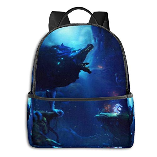 Hdadwy Anime Ori and The Will of The Wisps Mochila Unisexs Student Bag Mochilas clásicas Ligeras con Cremallera 14.5 X 12x 5 In