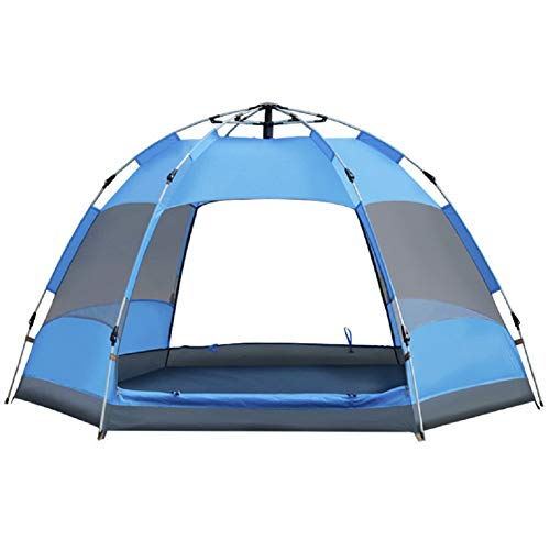 SFXFJ Compact Dome Tent, Lightweight Camping and Hiking Tent, 3-5 Person Automatic Family Tent, Instant Pop Up Waterproof Sunshade for Camping/Hiking/Travel/Outdoor Activities, Blue