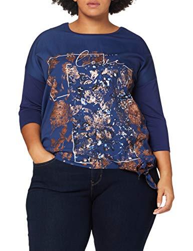 Samoon T-Shirt 3/4 Arm, Oceano Profondo Modellato, 44 Donna