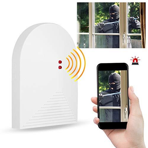 Detector de Rotura de Vidrio inalámbrico - 433MHz Sensor de Alarma de Cristal Roto Cristal, Sistema de Alarma de Seguridad para el hogar para Ventanas y Puertas, Oficina