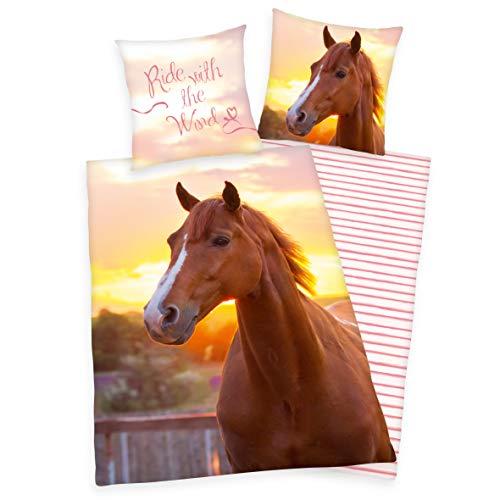 Herding Young Collection Pferde Bettwäsche, 80/80 cm + 135/200 cm, Baumwolle - Renforcé