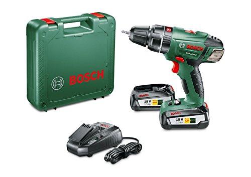 Bosch PSB 18 LI-2 - Taladro atornillador con percusión a batería con maletín (2 baterías 18V, cargador, punta de atornillar doble, Sistema 18 V, 2,5 Ah)