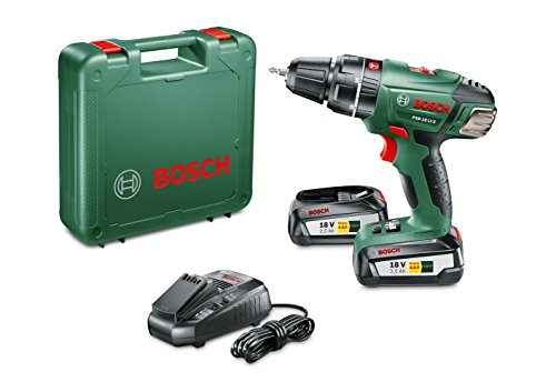 Bosch DIY PSB 18 LI-2 Accu-slagboorschroevendraaier, oplader, zonder accu, dubbelschroevenbit (18 V, 2,0 Ah, schroeven Ø tot 10 mm, boordiameter 35 mm in hout, 13 mm in staal, 15 mm in metselwerk)