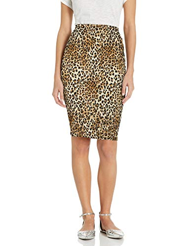 Star Vixen Women's Below-Knee Pencil Skirt with Back Slit, Leopard Print, S