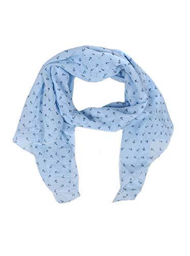 Zwillingsherz Seiden-Tuch mit Anker-Print - Hochwertiger Schal für Damen Mädchen - Halstuch - Umschlagstuch - Loop - weicher Schlauchschal für Sommer Herbst und Winter von Cashmere Dreams hbl