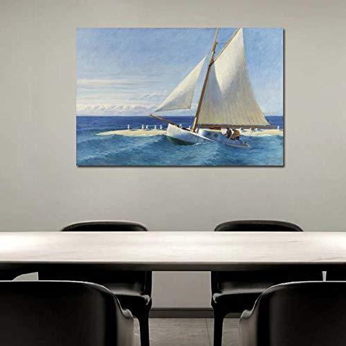 Chihie Edward Hopper Segelboot Leinwand Malerei Druck Wohnzimmer Home Decoration Artwork Moderne Wandkunst Ölgemälde Poster Bild 50cm x75cm Kein Rahmen