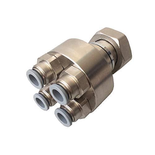 HoWaTech Metall Verteiler mit Verschraubung 3/4' | Anschlüsse für alle 8mm Warmwasser Fußbodenheizungen, Anschluß:4-fach