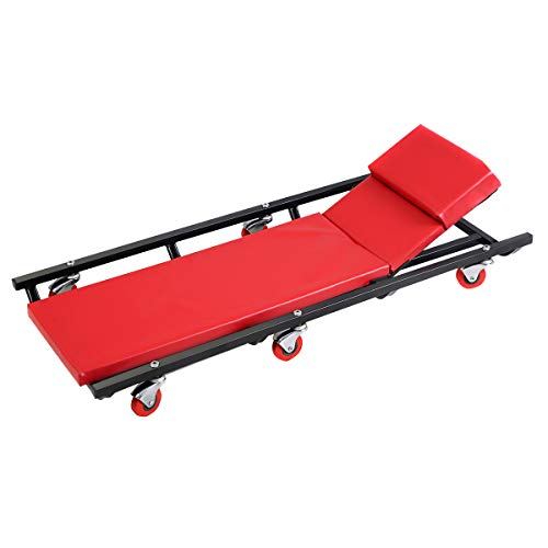 Goplus Mechanic Car Creeper, 40 Inch Shop Garage Creepers with Adjustable Lying Board, 6 Universal Wheels, Folding Rolling Garage Creeper 300lbs Capacity (Red)