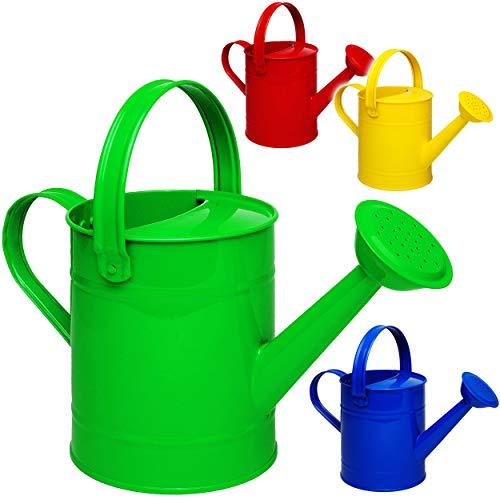 alles-meine.de GmbH 4 Stück _ kleine Gießkannen - Metall - bunter Farb-Mix - 1,5 Liter - für Kinder & Erwachsene - 23 cm - Blech Kindergießkanne - Henkel beweglich - Giesskanne G..