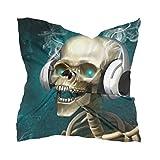 LZXO - Bufanda para mujer, diseño de esqueleto, estilo musical, cuadrado, pañuelo para la cabeza, pañuelo ligero, diadema con 10 pasadores de espiral, 60 x 60 cm