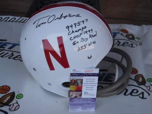 Tom Osborne signed Nebraska Cornhuskers full size 2-Bar TK throwback helmet w/career stats JSA COA
