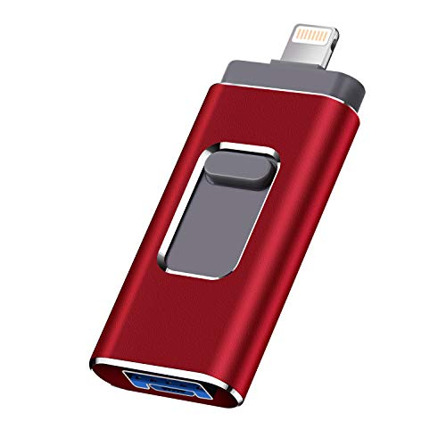 USB Flash Drive for iPhone Memory Stick Photo Stick 256GB for iPhone External Storage Photostick MobileThumb Drive USB 3.0 Compatible iPhone/iPad/Android Backup OTG Smart Phone (256GB, Red) (The Best Way To Backup Photos)