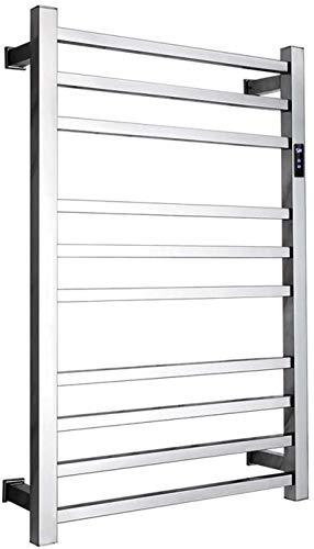 Toallero Eléctrico Bajo Consumo Calentador de toallas eléctricas, bastidor de toalla montado en la pared, riel de toalla con calefacción de 10 bar con temporizador 1-8H, temperatura ajustable, secador
