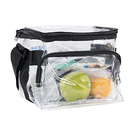 CHM Medium Clear Lunch Bag See Through Lunch Box with Adjustable Strap with Front Storage Compartment Transparent Lunch Bags For Women and Men for Work
