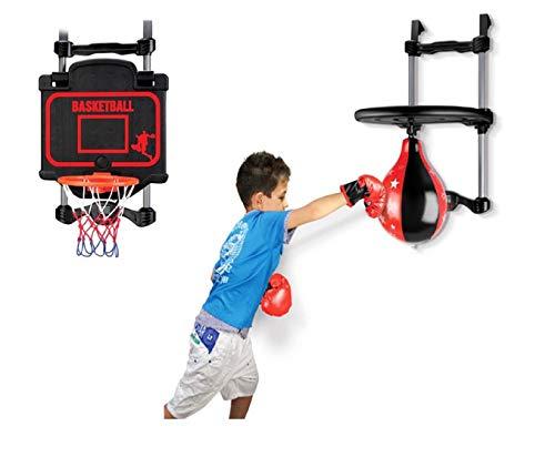 PJ Set 2 en 1 Juego de Boxeo Baloncesto Deporte Juguete, Colgando de la Puerta