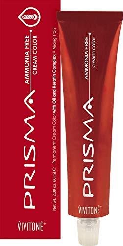 Vivitone PRISMA Cream Hair Color - NO AMMONIA - #4 Medium Brown 2.09 oz. - 100% Grey Coverage, Long Lasting Shine, Made in Italy.