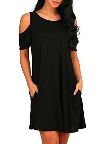 HAOMEILI Women's Cold Shoulder with Pockets Casual Swing T-Shirt Dresses (Large, Black)