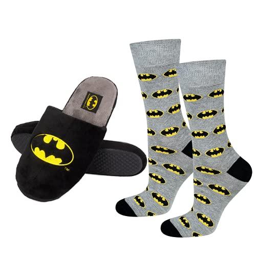 soxo Batman Set Zapatillas de Casa y calcetines para Hombre   Talla de zapatillas 43-44  Talla de calcetines 40-45 EU   Cómodas Babuchas Afelpadas   Suela Flexible Antideslizante