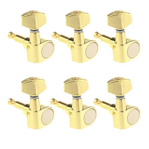 Musiclily 6 en línea Tipo Cerrado Set de Clavijas de Afinación Clavijero de Repuesto para Guitarra, Oro