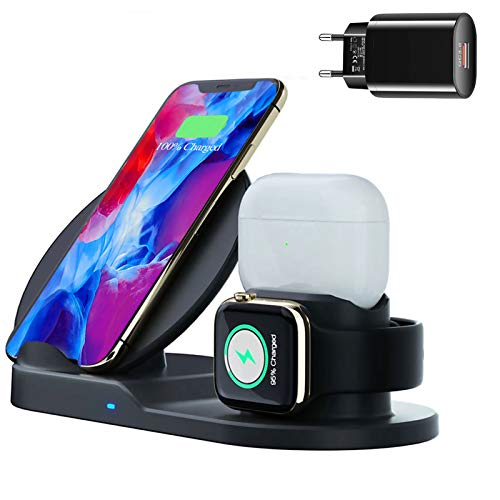 3 in 1 Kabelloses Ladegerät, 10W Fast Wireless Charger, Qi Ladestation Kompatibel mit Airpods Pro, Apple Watch, iPhone 11/11 Pro/11 Pro Max/XS/XR/XS Max/8, Samsung, LG, Galaxy, Huawei - Schwarz