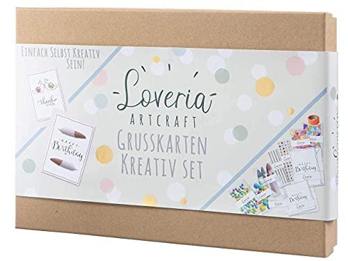 Loveria Grußkarten Bastelset zum Selbst Gestalten - 16 hochwertige Karten, mit Umschlag, Sticker, ideal für Erwachsene, kreative Einladungen basteln