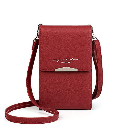 Katech Small Crossbody Bag Women Phone Purses PU Leather Mini Shoulder Bag (Red)