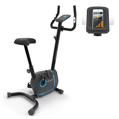 KLAR FIT Myon Cycle - Vélo d'exercice, Volant d'inertie de 12 kg, Entraînement par Courroie avec SilentBelt, 8 Niveaux, Moniteur de fréquence Cardiaque dans la poignée - Noir