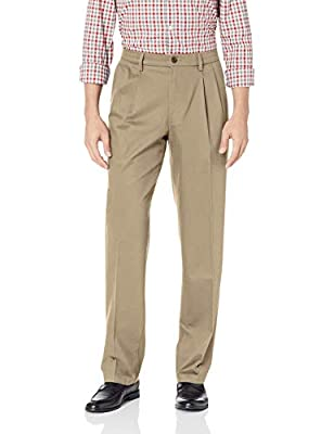 Dockers Men's Classic Fit Signature Khaki Lux Cotton Stretch Pleated Pants, timber wolf, 34W x 30L from Dockers