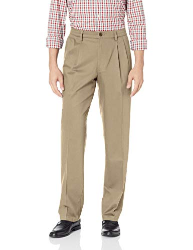 Dockers Men's Classic Fit Signature Khaki Lux Cotton Stretch Pants-Pleated, timber wolf, 40W x 32L