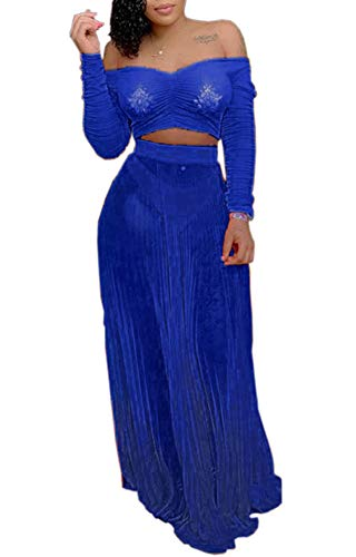 Yeshire Women's Sexy Mesh See Through 2 Piece Outfits Off Shoulder Crop Top and Maxi Skirts Set Pleated Long Dress Small Blue