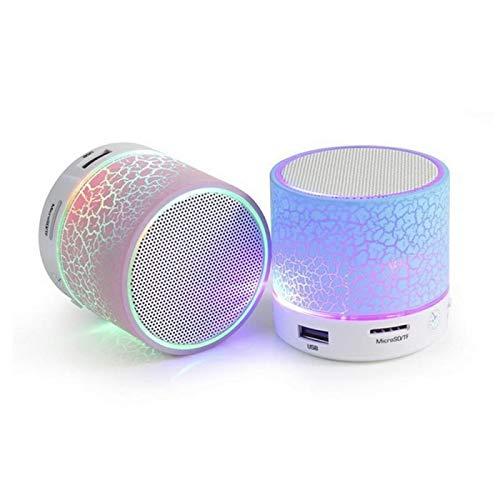 XIXV Mareos portátil 20W 15W 400mAh Constitucional de la batería de plástico Completa Gama de Altavoces Bluetooth Wireless Mini Altavoz de subgraves LED de Colores Boombox (Color : Pink, Size : A)