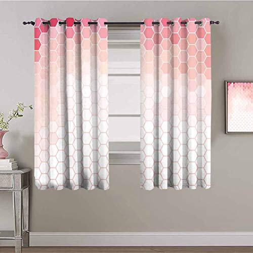 Light Pink Thermal Insulated Room Darkening Curtains Hexagon Forms Linked Abstract Beehive Gradient Toned Creative Image Easy to Clean Coral Peach Hot Pink W84 x L84 Inch