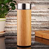 Bamboo Tumbler with Tea Infuser - 360 ml Double Insulated Stainless Steel Travel