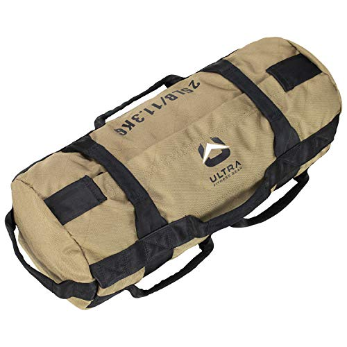 Ultra Fitness Workout Exercise Sandbags - 25 lbs Heavy Duty Sand-Bag, Functional Strength Training, Dynamic Load Exercises, Crossfit, WODs, General Fitness and Military Conditioning (Small, Tan)