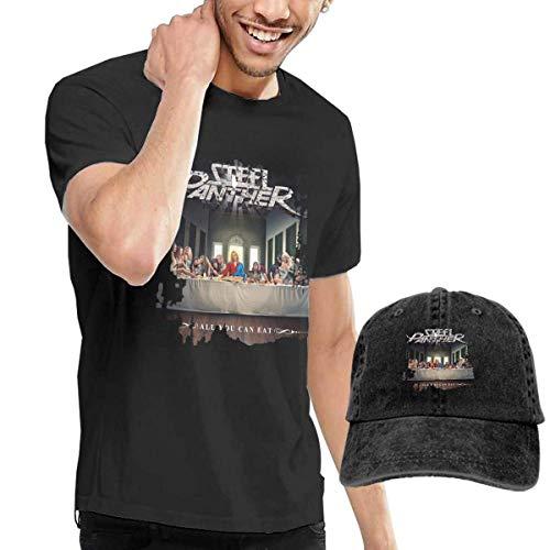 Baostic Herren Kurzarmshirt Men's Steel Panther All You Can Eat T-Shirts and Washed Denim Baseball Dad Hats Black