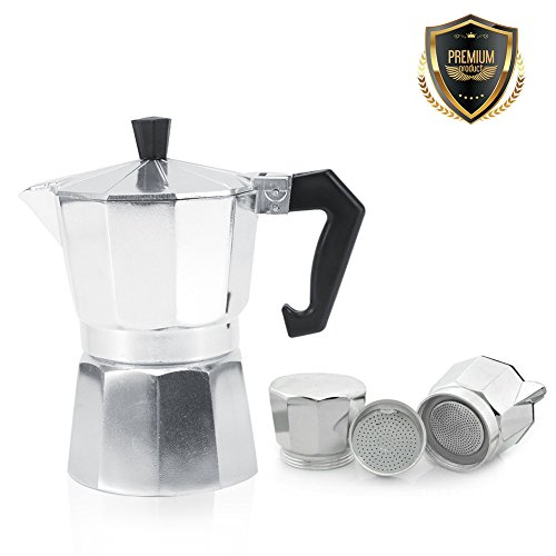 Yosoo Cafetière Italienne en Aluminium 3/6/9/12 Tasses Pot café Moka Cuisinière Bureau Domicile pour Espresso(600ML 12tasses)