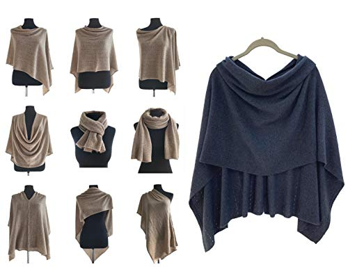 Poncho de cachemir para mujer, bufanda de viaje, chal de novia, con botones, de punto, pashmina, portátil, ligera, multisentido, 100% ética, tinta azul marino, gris y azul