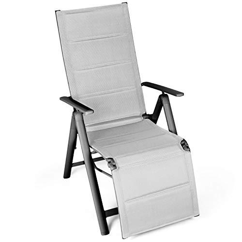 Vanage gepolsterter Gartenstuhl mit Fußableger in grau - Klappstuhl - Hochlehner - Stuhl für Garten, Terrasse und Balkon geeignet