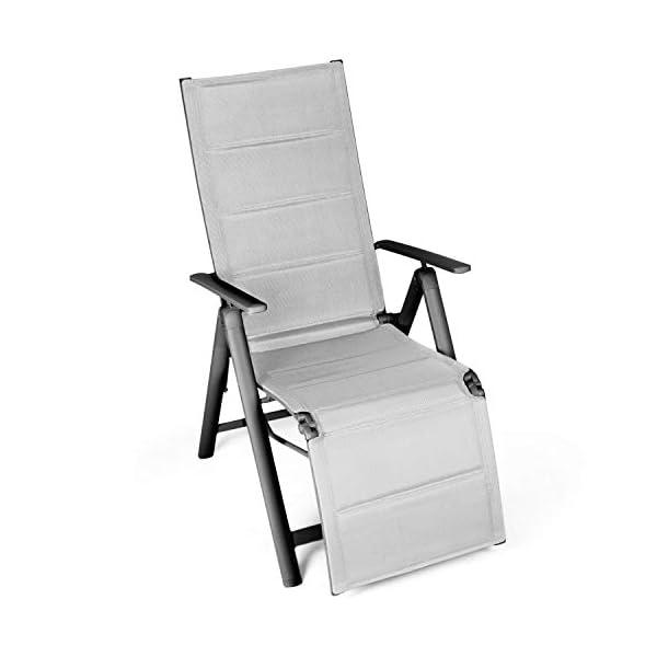 Vanage gepolsterter Gartenstuhl mit Fußableger in grau - Klappstuhl - Hochlehner - Stuhl für Garten, Terrasse und Balkon…