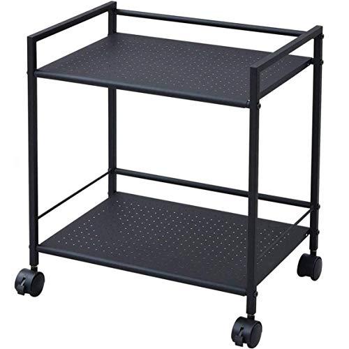 山善 スチールラック 幅42.5×奥行30×高さ49.5cm 耐荷重20kg 2段 2WAY仕様(ストッパー付きキャスター/固定式アジャスター) パンチング仕様 場所を選ばない 組立品 ブラック CPR-50432C(BK)