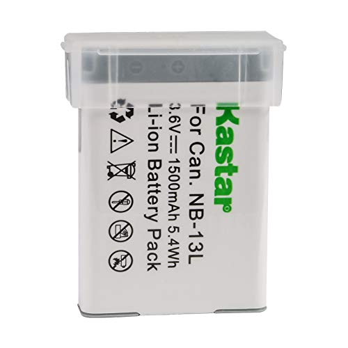 Kastar Digital Camera Battery Replacement for Canon NB-13L 13LH Battery CB-2LH, CB-2LHE, CB-2LHT Charger and Canon PowerShot SX730 HS, SX740 HS, SX720 HS, SX620 HS, G1 X, G5X, G7X, G9X Mark II Cameras -  BA-1B-NB13L-1