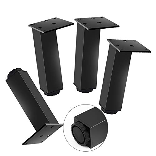 YLL 4 Set Adjustable Leveling Feet, Heavy Duty Furniture Table Legs Leveler Feet, Adjustable Easy To Install Table Legs for Tables Chairs Cabinets,Black,13cm/5in